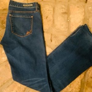 Express low rise boot cut jeans.